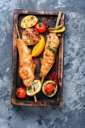 Grilled Salmon On Cutting Board