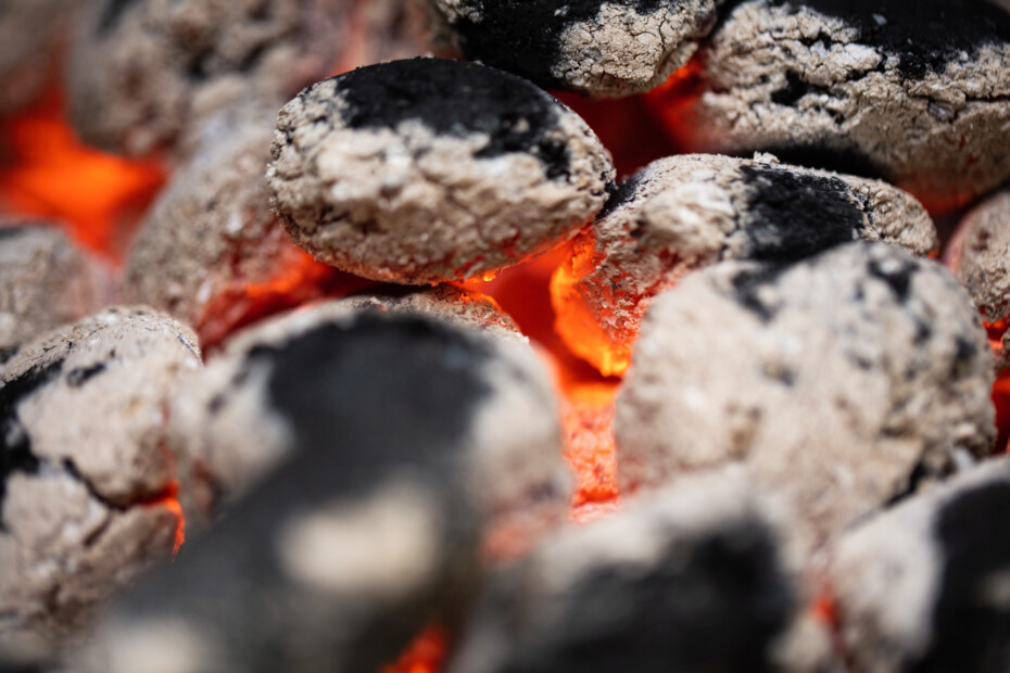 Charcoal Burning On Fire.