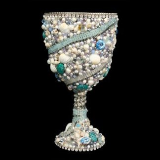B.B.SIMON CUP-500 Aquamarine Swarovski Crystal Silver Wine Glasses