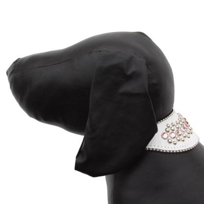 B.B.SIMON DOG Rose White Leather Dog Cat Pet Collar