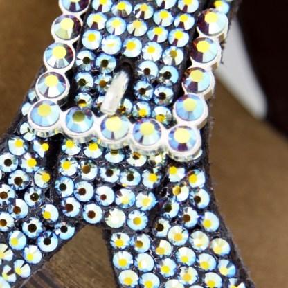 B.B.SIMON SHOES 3881-JET AB Clear Swarovski Crystal Pumps
