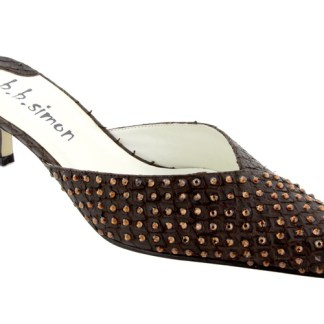 B.B.SIMON SHOES 7463-Mocha-ST Womens Swarovski Pumps