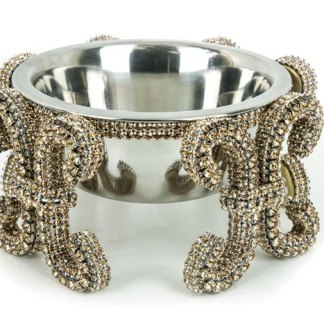 DWB 120 Gold bb Simon Swarovski Crystal Dog Cat Pet Bowl