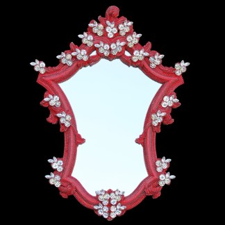 M-200-LT.SIAM-CLEAR BB Simon Red Jeweled Ornate Mirror