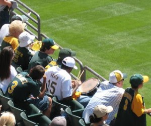 "Oakland Fans drumming to the ""Marco-SCUTARO"" chant. 2007."