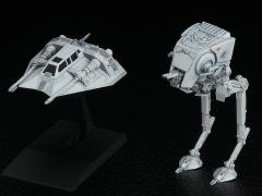 Star Wars Vehicle Model #008 AT-ST & Snowspeeder 1/144 Scale Model Kit