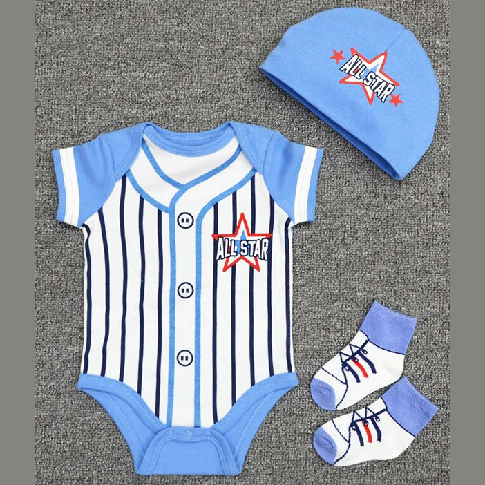 3b5854293c96 Online Baby Wear Malaysia - BB 3 in 1 BLUE ALL STAR Romper set ...