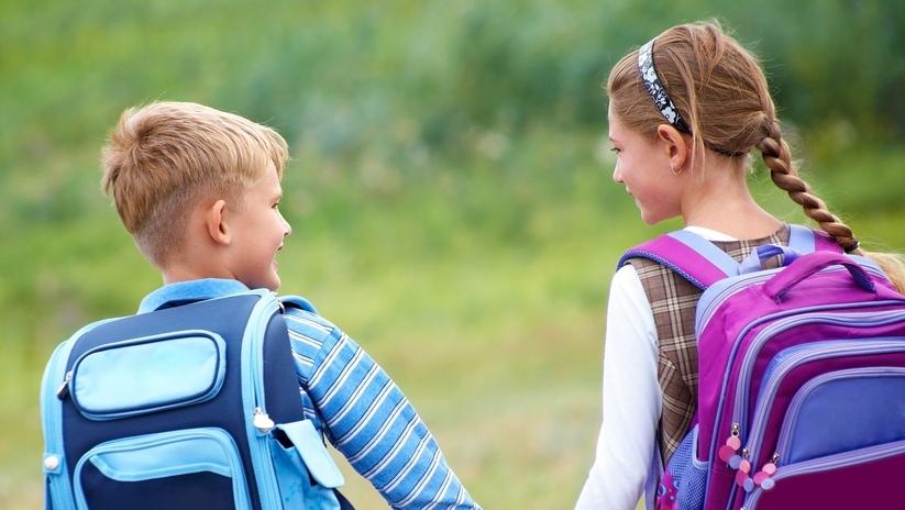 Children hold hands on the way to school. (YanLev / Shutterstock.com)