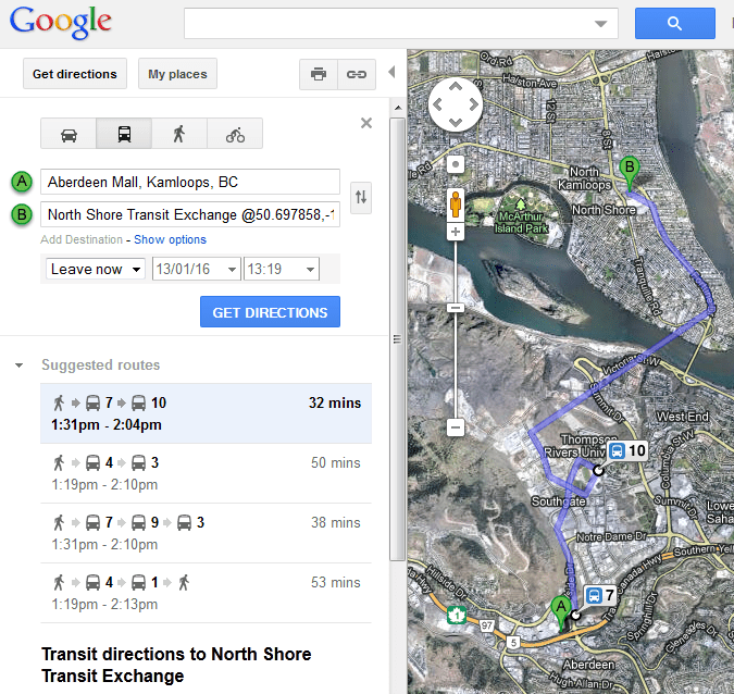 Google Transit available in Kamloops