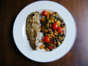 Black Bean Salad and Bluefish