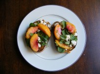 Peach and Bleu Cheese Toasts