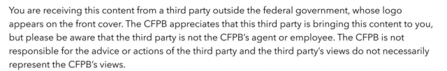 CFPB Disclaimer