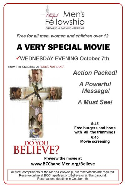 2015 - Do You Believe Poster-Second Movie Night