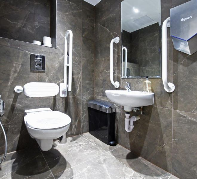 Commercial office restroom design in London by Brompton cross construction
