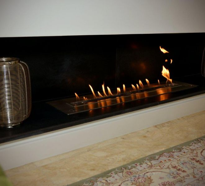 Ethanol fire installation London Brompton Cross construction