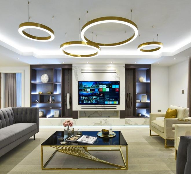 Modern Living room high end interior Design Brompton Cross