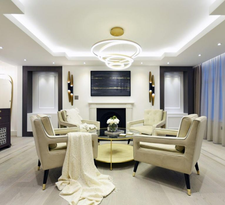 Luxury reception room high end interior design including bespoke artwork by Edward Grover