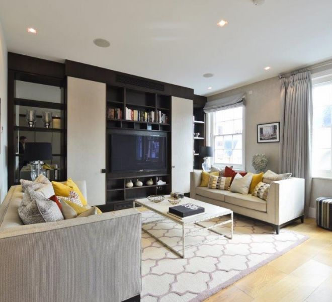 Pont Street living room interior design by Brompton Cross Construction