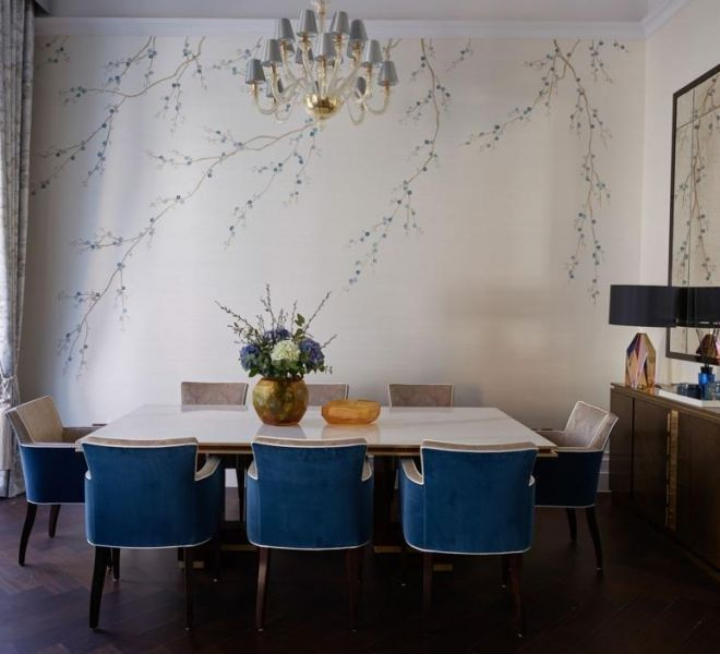 Living room interior design hand painted custom wallpaper London