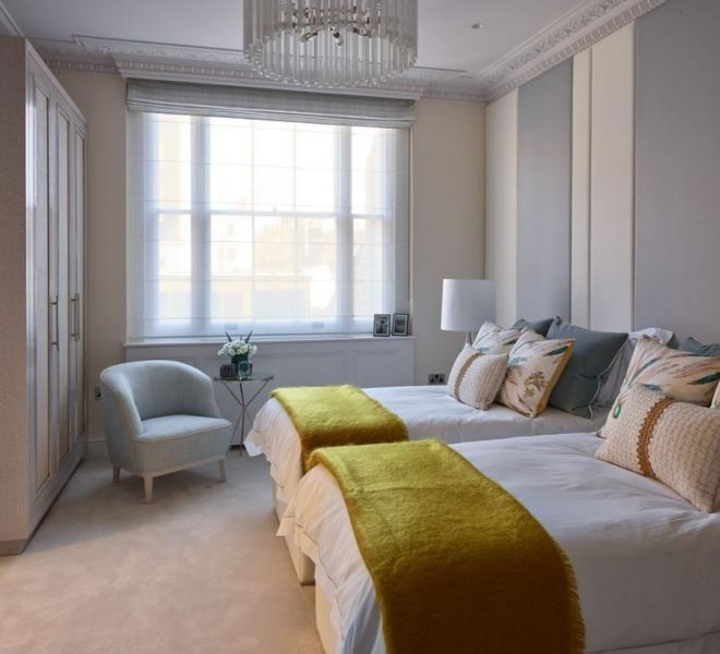 Kensington high end designer bedroom Brompton Cross Construction