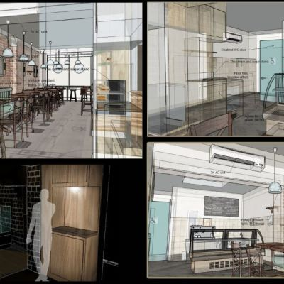 Design and build 3D renders and plans for the deli cafe renovation