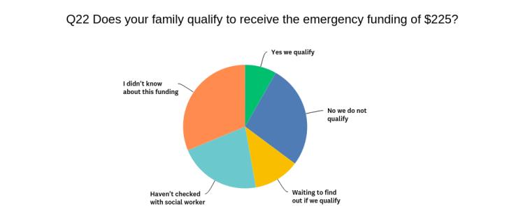 Pie chart of responses to question 22 on survey. Shows 5 options in different coloured and sized wedges representing responses.