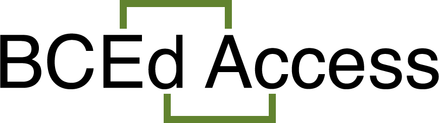 """Black text that reads, """"BCEd Access,"""" with the 'E' of BCEd and 'A' of Access being connected by green links above, and 'd' of BCEd and 'c' of Access being connected below."""