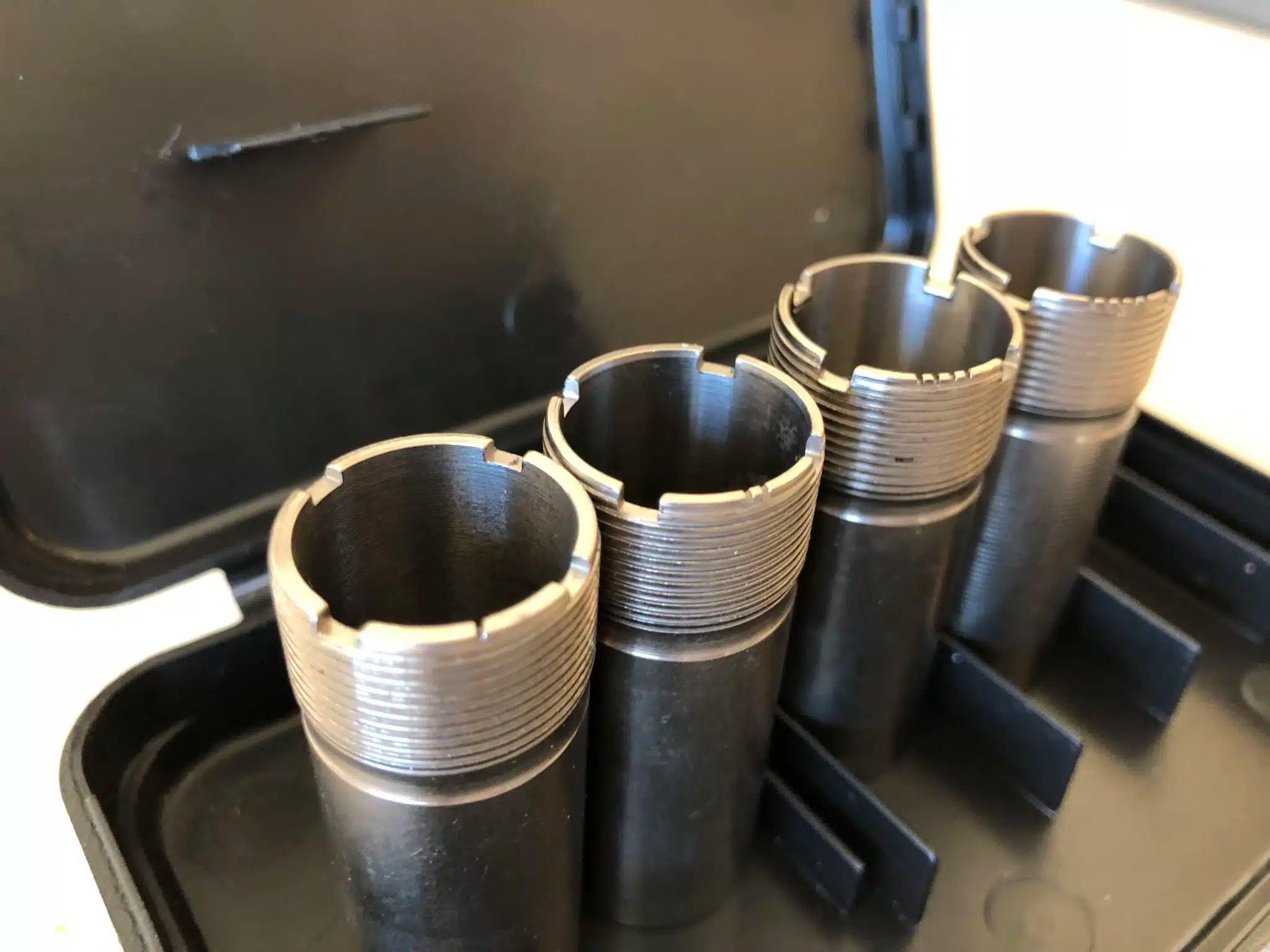 Four Common Shotgun Chokes - Full choke, Modified choke, Improved cylinder and Cylinder bore