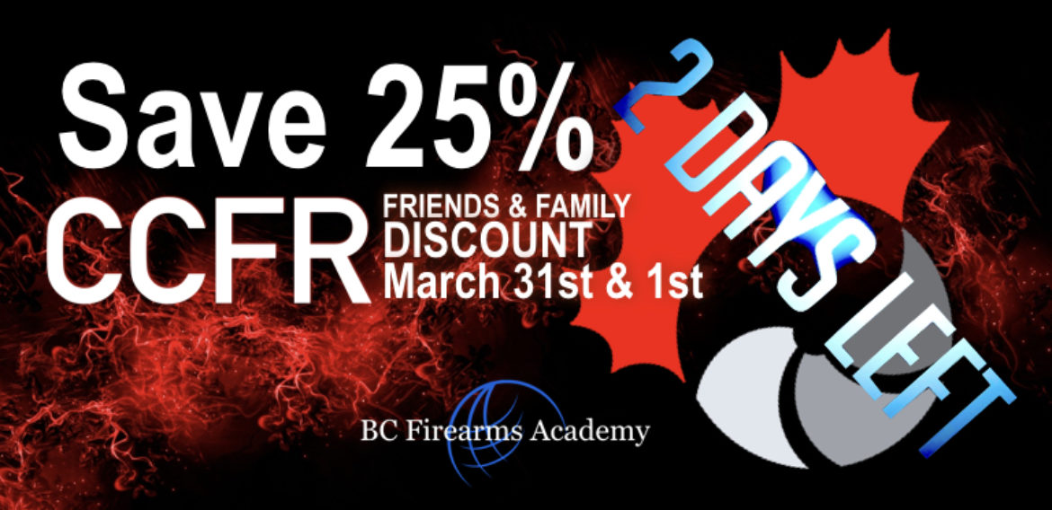 25% Off for CCFR Members Friends and Family Two Days Left To Save