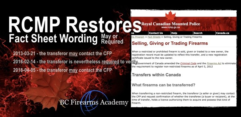 RCMP RestoresOnline Fact Sheet Canadians Can Buy Guns Without Showing PAL