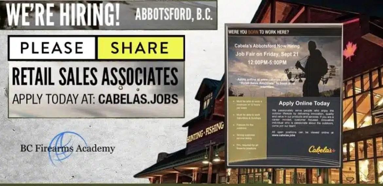 Cabela's Abbotsford JOB FAIR September 21st 12 pm – 5 pm 2018 PLEASE SHARE
