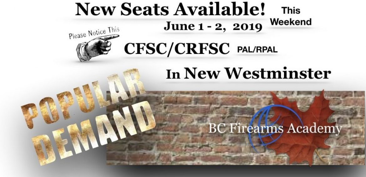 New Seats Open for This Weekend's CFSC/CRFSC!