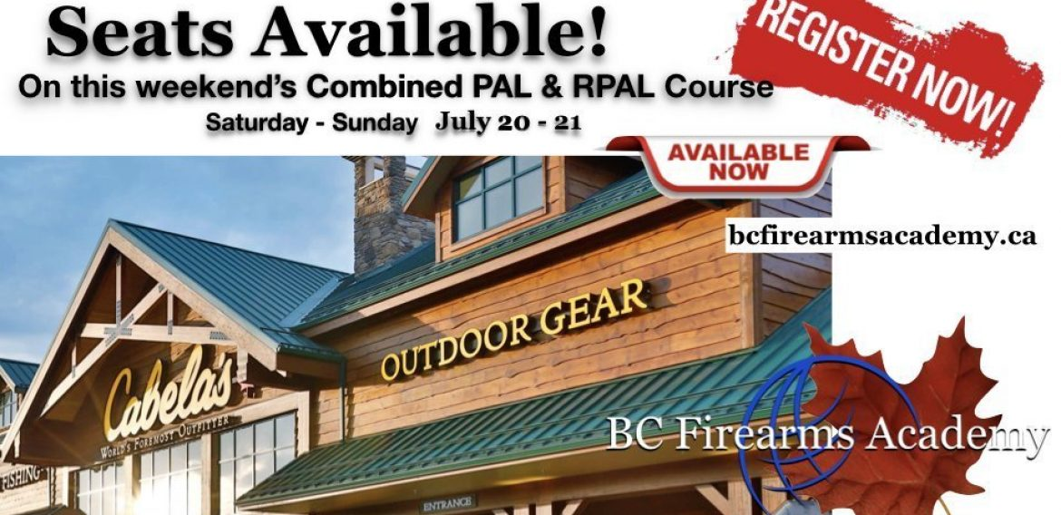 Still Space for This Weekend's PAL/RPAL Course at Cabela's