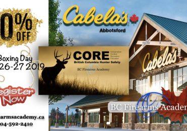 20% Off Dec 26-27 CORE Course at Cabela's Abbotsford!