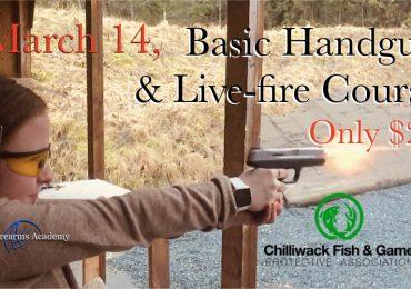 $25 Handgun Live Fire Training at CFGPA March 14th 2020