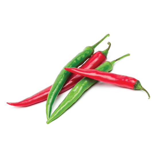 Red and green chili peppers for dehydration