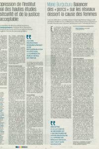 """2019 - Article - Marie Burguburu - Balancer les """"porcs"""" sur les réseaux dessert la cause des femmes - Le Monde"""
