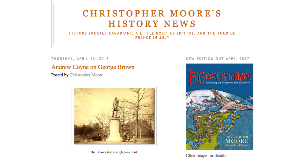 History Blog for April: Christopher Moore's History News