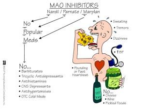 Figure 9: MAOIs often have a variety of serious side effects that makes them less than desired for the treatment of MDD.  A well-maintained diet is key to minimizing the side effects of this disease, as unregulated treatment with an MAOI can lead to serious heart problems. (From: http://nursingmnemonics.blogspot.com/2012/07/mao-inhibitors.html)