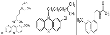 Figure 4. Chemical structures of (left to right) quinacrine, chlorpromazine, and agomelatine. (Images from sigmaaldrich.com)