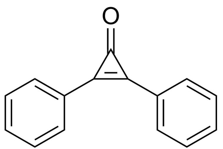 Figure 2: Structure of diphenylcyclopropenone (DPCP), a topical immunotherapeutic drug. (Source: http://upload.wikimedia.org/wikipedia/commons/7/73/Diphenylcyclopropenone.svg)