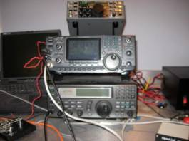 R8500 bottom and IC-746 middle HF homemade transceiver on top