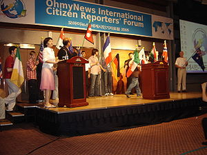 English: OhmyNews citizen reporters at the Ohm...