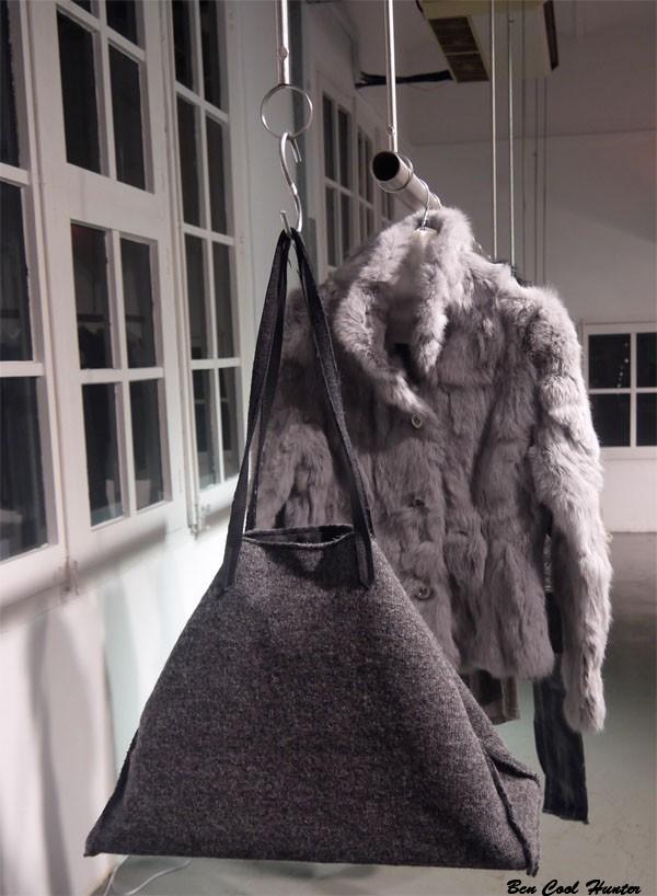 gas bolso abrigo pelo gris