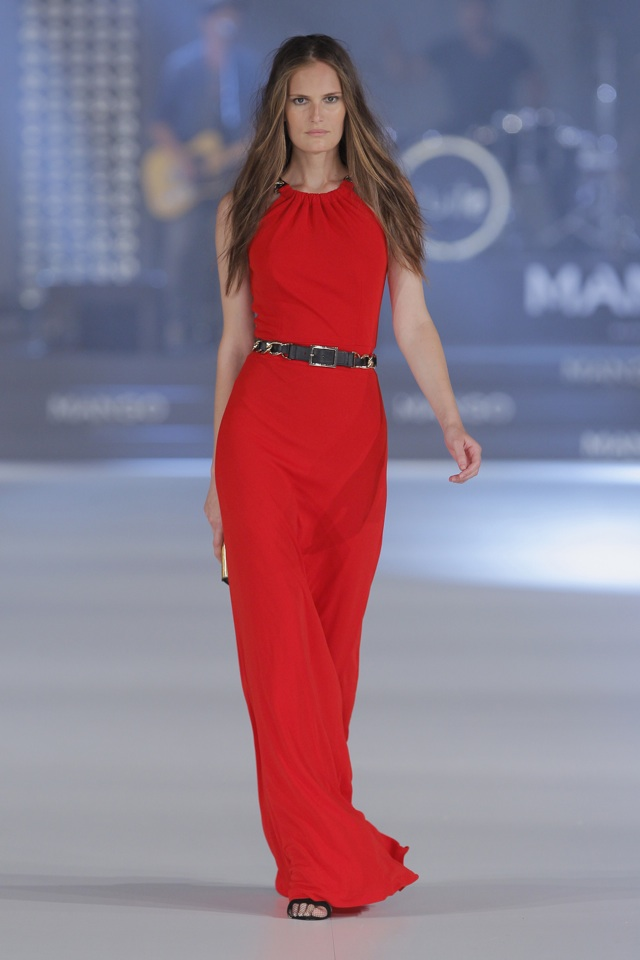 mango vestido rojo largo