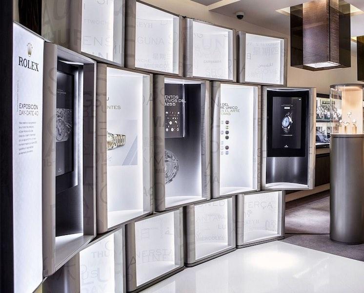 Detalle de la exposición Day-Date 40 de Rolex que acoge GR Barcelona hasta el 29 de abril.