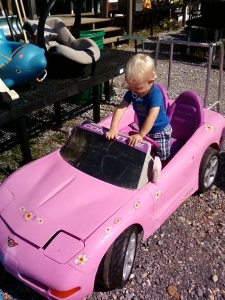 Test driving a pink corvette at a flea market