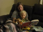 My sister reading to my son