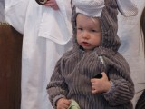 My son dressed up like a donkey during the manger scene at church