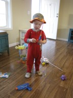 """Happy Easter Morning!"" my son would say. He got a pretend fishing pole and a hat to wear."
